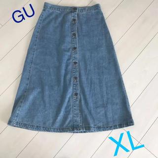 ジーユー(GU)のGU デニム フロントボタン スカート(ロングスカート)