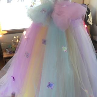 5c15f0ca38fbb まウエディングドレス用 バックリボン レインボー ロング(ウェディングドレス)