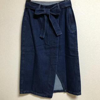 ジーユー(GU)のGU リボンデニムスカート(ひざ丈スカート)