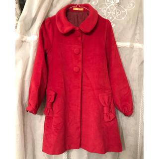 赤ポケットリボン型で可愛いコートfint フィント(ピーコート)