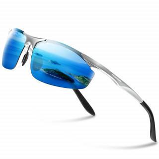 サングラス メンズ 偏光レンズ 軽量 uvカット 紫外線カット シルバー&ブルー(サングラス/メガネ)