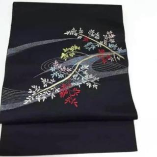 正絹 金属糸刺繍 名古屋帯(帯)