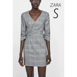 ザラ(ZARA)の【新品・未使用】ZARA チェック柄 ワンピース S(ミニワンピース)