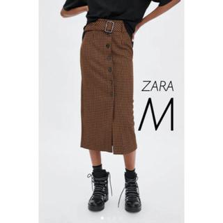 ザラ(ZARA)の【新品・未使用】ZARA ギンガムチェック  ミディ丈 スカート  M(ひざ丈スカート)