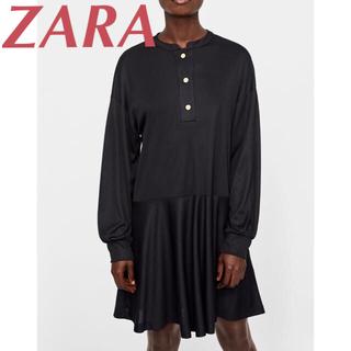 ザラ(ZARA)のフリル付きシャツワンピース(ひざ丈ワンピース)