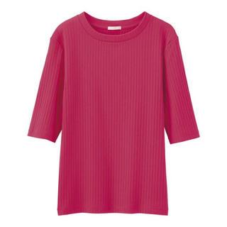ジーユー(GU)のピンク リブニット 五分袖(ニット/セーター)