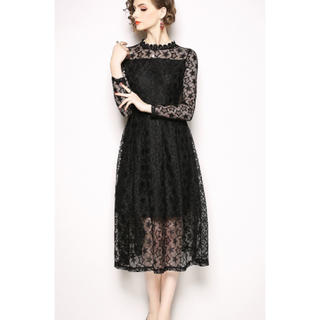 スターレースワンピースドレス(ミディアムドレス)