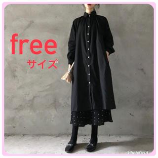 シャツワンピース ロングシャツ 黒 ブラック 男女兼用 多機能(ロングワンピース/マキシワンピース)