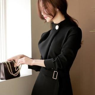 巻きスカート♡ハイネック・スクエアバックベルト・ワンピ【S】【M】【L】(ミディアムドレス)