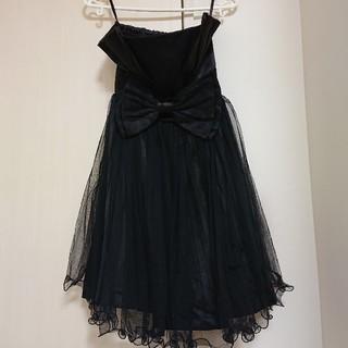 ドレス 黒 チュールスカート(ミディアムドレス)