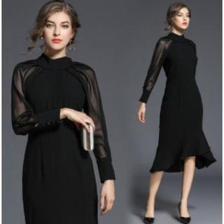 新品 Lサイズ シースルー ドレス ワンピース フォーマル パーティー 結婚式(ミディアムドレス)