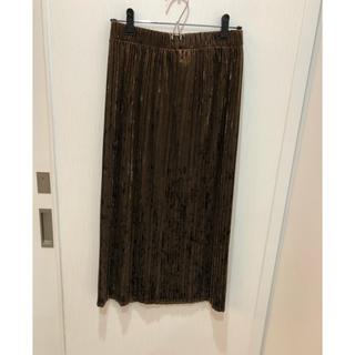 ジーユー(GU)のGU クラッシュベロアプリーツスカート 美品 M(ひざ丈スカート)