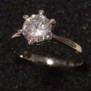 スワロフスキー(SWAROVSKI)の1㌌ ダイヤモンドキュービックジルコニア 6本爪 リング K18ホワイトゴールド(リング(指輪))