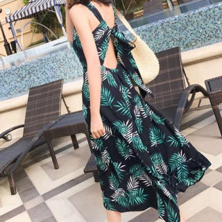 ‼️本日限定‼️ ボタニカル柄 ワンピース マキシワンピース スカート ドレス(ロングワンピース/マキシワンピース)