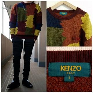 ケンゾー(KENZO)の日本製 KENZO GOLF 総柄 パッチワーク プルオーバーニット セーター(ニット/セーター)