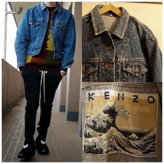 ケンゾー(KENZO)の希少 90's ヴィンテージ KENZO jeans 葛飾北斎 デニムジャケット(Gジャン/デニムジャケット)