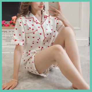 お買い物へGo♡ハート柄 シルク風 パジャマ セットアップ レディース(パジャマ)