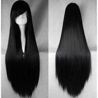 ウィッグ ブラック ロングコスプレ ストレート 100cm ネット付き 黒髪(ロングストレート)