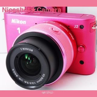 ニコン(Nikon)の❤キュートで可愛いチェリーピンク❤スマホ転送カード今だけ16GB❤ニコンJ2(ミラーレス一眼)