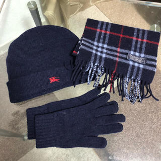 BURBERRY - Burberry バーバリー 子供用3点セット(マフラー、帽子、手袋) ネイビー