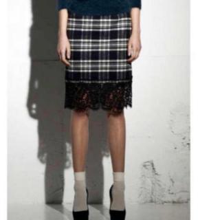 サカイラック(sacai luck)のsacai luck サカイ チェック スカート 裾レース(ひざ丈スカート)