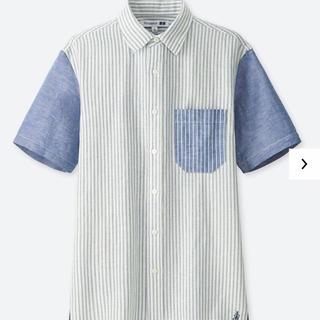 ユニクロ(UNIQLO)のリネンコットンシャツ 半袖ユニクロ×JW ANDERSON アンダーソン ブルー(シャツ)