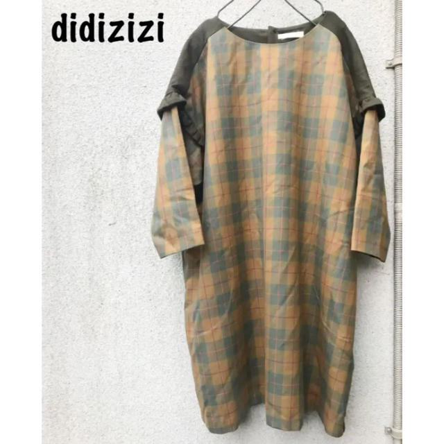 didizizi(ディディジジ)の冬物セール!60%OFF!didiziziウール100%チェックドッキングワンピ レディースのワンピース(ひざ丈ワンピース)の商品写真