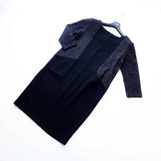 ANAYI - アナイ■ 38 着やせ配色 黒 ワンピース ANAYI