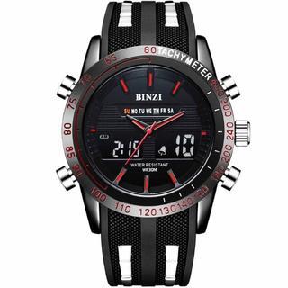 【新品未使用】BINZI メンズ腕時計 ミリタリー 防水 ブラック(腕時計(アナログ))