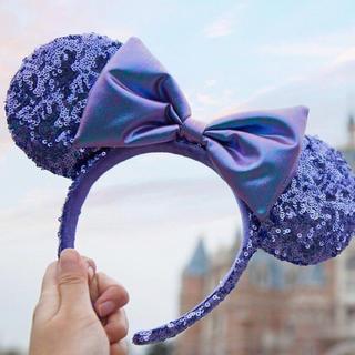ディズニー(Disney)の【日本未入荷】上海ディズニー限定!ミニー 紫 スパンコール カチューシャ(カチューシャ)