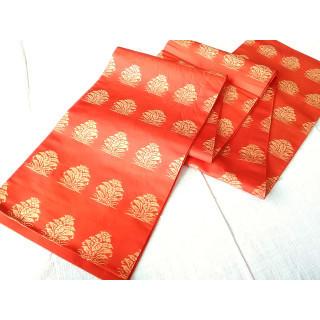 【正絹】 袋帯 名物柄 朱色 EY04(帯)
