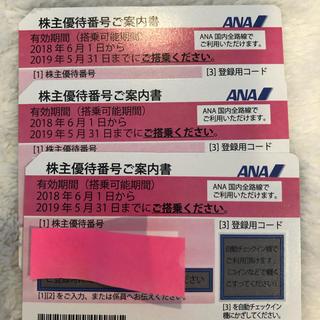エーエヌエー(ゼンニッポンクウユ)(ANA(全日本空輸))のANA 全日空株主優待券 3枚セット(航空券)