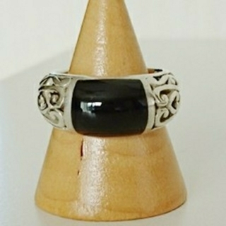 オニキスリング シルバー925リング 12号 オニキス指輪 シルバー指輪(リング(指輪))