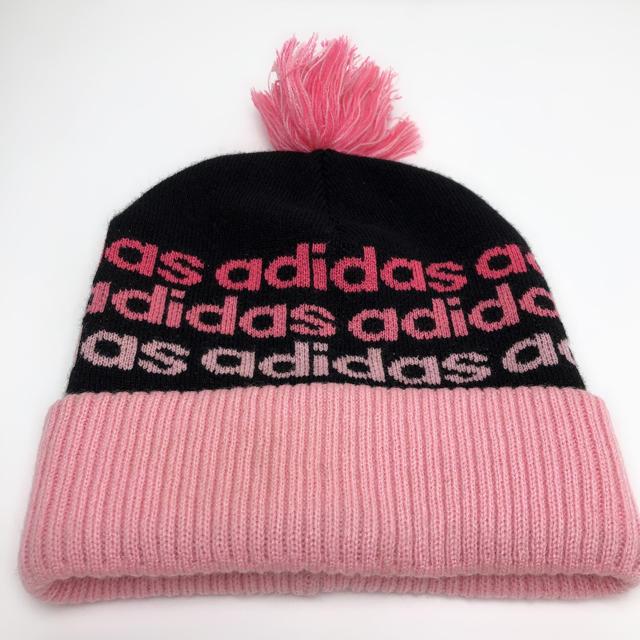 adidas(アディダス)のC006 美品★ アディダス ニット 帽子 スキー フリーサイズ ピンク レディースの帽子(ニット帽/ビーニー)の商品写真