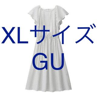 ジーユー(GU)のジーユー GU XLサイズ ウエストゴム ロング白×黒ドット柄ロングワンピース(ロングワンピース/マキシワンピース)