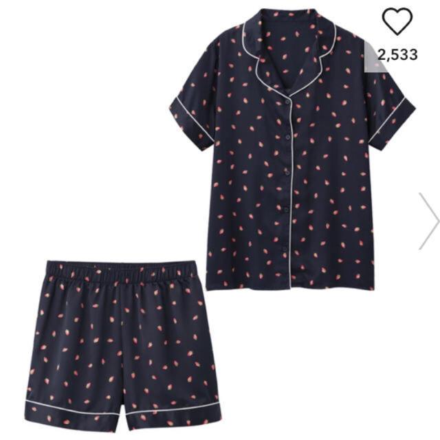 GU(ジーユー)のGU いちご柄 Mサイズ  半袖ショーパンセット  新品タグ付き レディースのルームウェア/パジャマ(パジャマ)の商品写真