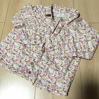 ザラ(ZARA)の【美品】ZARAベビー ネルシャツ花柄(シャツ/カットソー)