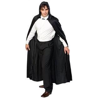 フード付き黒色ブラックロングマント コスプレコスチューム ハロウィン(衣装)