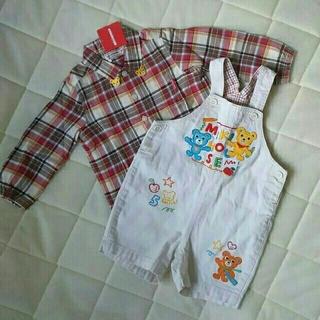 ミキハウス(mikihouse)のミキハウス ショートオール 90  タグ付きシャツ 2枚セット(ブラウス)