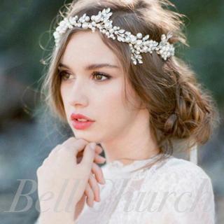 小枝風 たっぷりパール カチューシャ ホワイト(ヘッドドレス/ドレス)