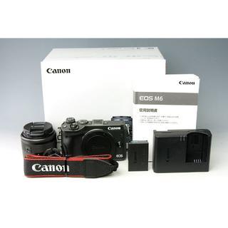 キヤノン(Canon)の【美品】キャノン CANON EOS M6 レンズキット★ブラック(ミラーレス一眼)