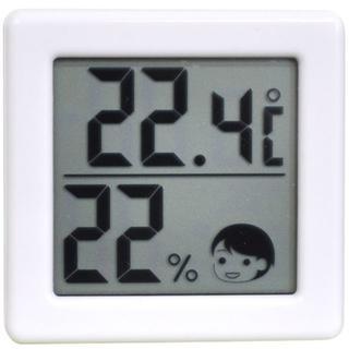 ♪表情でお知らせ デジタル温湿度計 ホワイト(その他 )