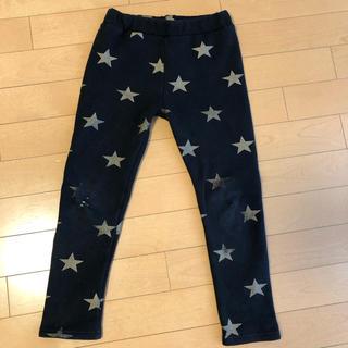 【韓国子供服】 男女兼用 パンツ ロング 黒×星柄 120cm(パンツ/スパッツ)