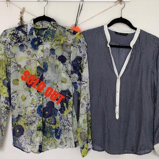 ザラ(ZARA)のZARA WOMEN透け感ありストライプ柄のシャツ(シャツ/ブラウス(長袖/七分))
