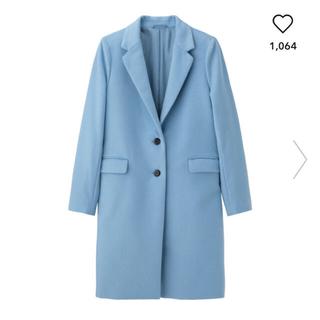 ジーユー(GU)のGU ウールブレンドチェスターコート ブルー 水色 ロングコート S 今期(チェスターコート)