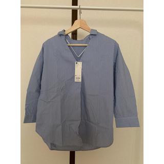 ジーユー(GU)のGU ジーユー オーバーサイズ スキッパーシャツ ストライプ ブルー Mサイズ(シャツ/ブラウス(長袖/七分))