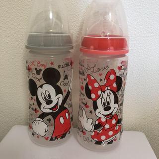 Nuk ヌーク 哺乳瓶 蓋付き ミニー & ミッキー300ml グレー&レッド(哺乳ビン)