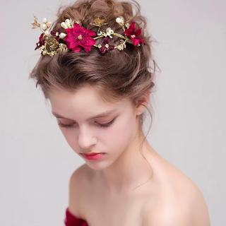 蝶々 赤い花 ヘッドドレス ウェディング  結婚式