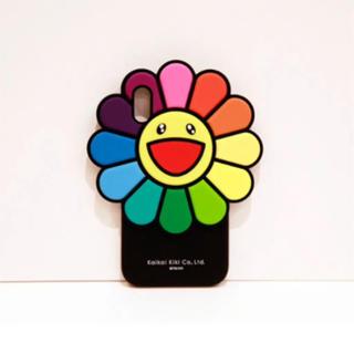 アイフォーン(iPhone)の村上隆 お花シリコンケース XS、X用 金チェーン付き カイカイキキ(iPhoneケース)