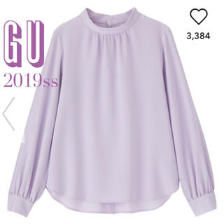 ジーユー(GU)の2019SS♡GU♡定価2,145円♡スタンドカラーブラウス♡パープル(シャツ/ブラウス(長袖/七分))